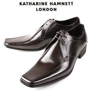 KATHARINE HAMNETT LONDON キャサリンハムネット 3948 DBR メンズ 本革 ドレスシューズ ビジネス 外羽根スワールトゥ