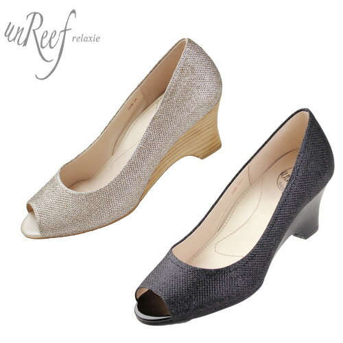 unReef 靴 アンリーフ 3306 オープントゥ パンプス ウェッジソール