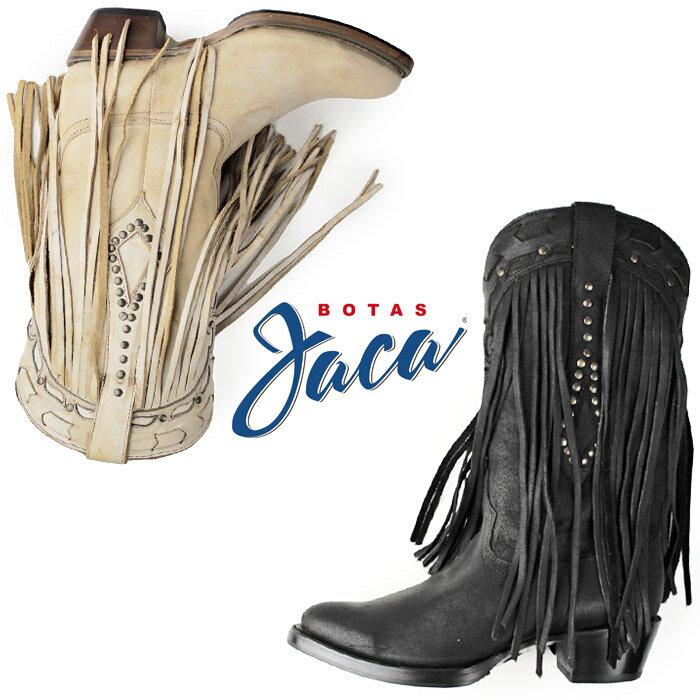 Botas Jaca ボッタス ハカ 靴 レディース 48001 ウエスタン ブーツ フリンジ スタッズ 本革 セール