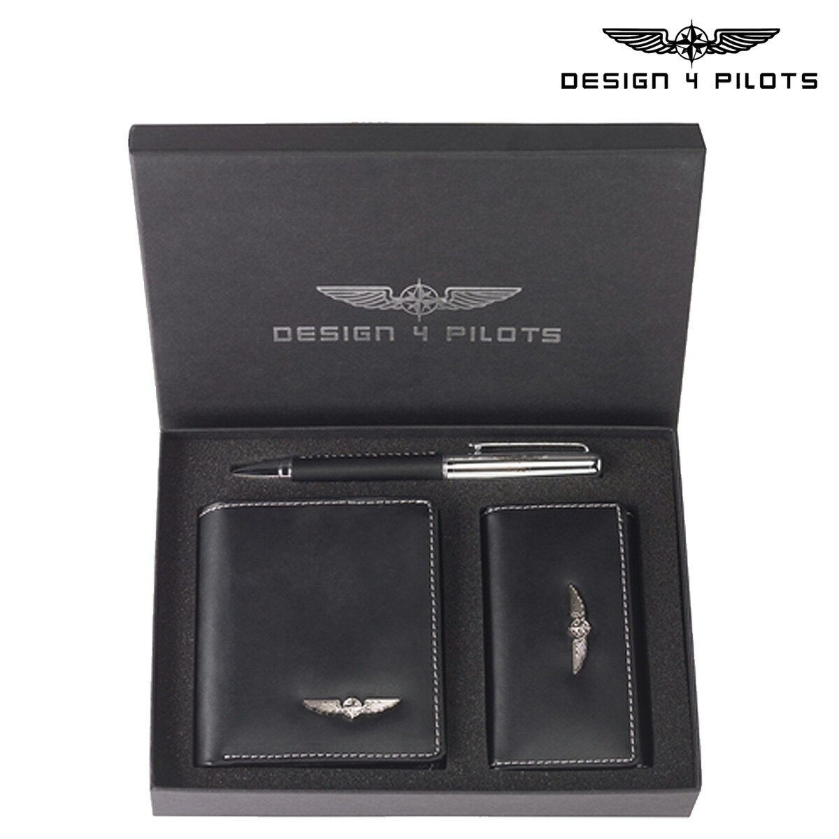 セレクト DESIGN 4 PILOTS デザイン4パイロッツ  二つ折り財布 キーケース ペン 3点セット  ブラック PILOT WALLET SET 飛行機 パイロットグッズ  メンズ