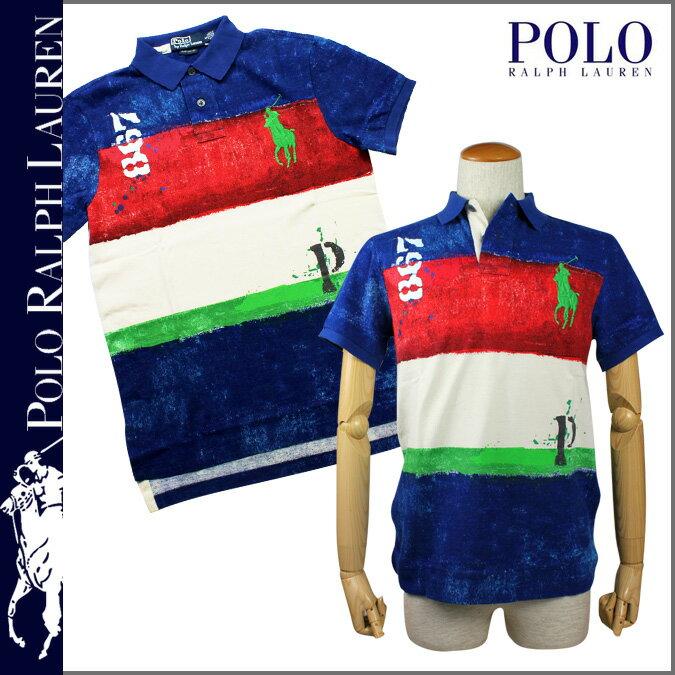 POLO by RALPH LAUREN ポロ ラルフローレン ポロシャツ ブルー マルチカラー 0464848 Custom Fit Buoy Big コットン メンズ