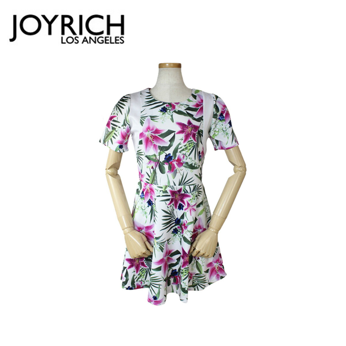 JOYRICH ジョイリッ� ワンピース ドレス  フレア 花柄 ホワイト OPTICAL GARDEN PLAYER DRESS  レディース