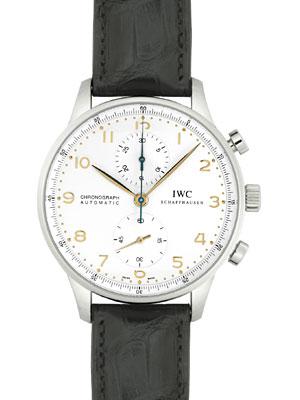 【新品】IWC メンズ IW371445 ポルトギーゼ クロノグラフ SS/ブラックレザー シルバー 金色針&インデックス 自動巻き フォールディングバック 【kuro_w2】 《マイナーチェンジモデル》
