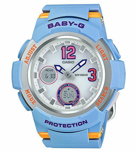 【ポイント2倍!!+送料無料!】カシオ CASIO BABY-G ベビーG ソーラー 電波 アナデジ レディース 腕時計 ホワイト ブルー BGA-2100-2BJF 国内正規品
