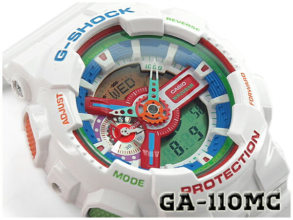 【ポイント2倍!!+送料無料!】G-SHOCK Gショック ジーショック 限定 Crazy Colors クレイジーカラーズ カシオ CASIO アナデジ 腕時計 ホワイト GA-110MC-7ADR GA-110MC-7A