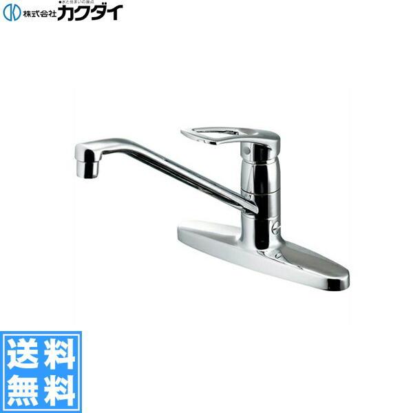 [116-104K]カクダイ[KAKUDAI]シングルレバー混合栓[寒冷地仕様][分水孔つき]【送料無料】