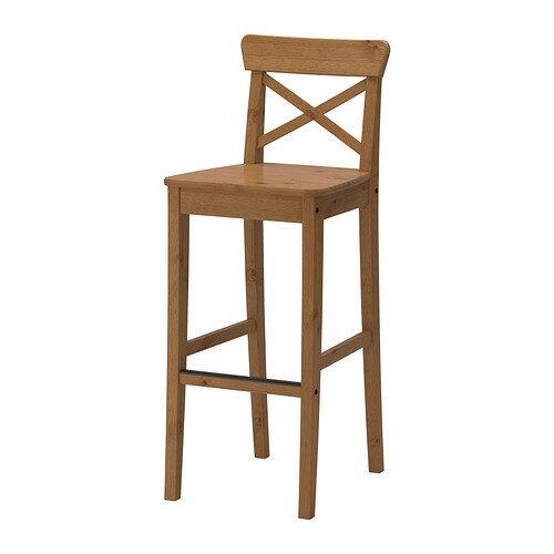 【IKEA/イケア/通販】 INGOLF バースツール 背もたれ付き, アンティークステイン(d)(70362743)