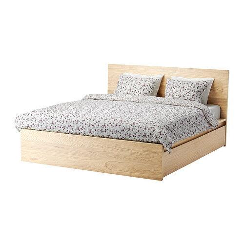 【IKEA/イケア/通販】 MALM ベッドフレーム(高め) 収納ボックス4個付き, ホワイトステインオーク材突き板, ロンセット(a)(S89244245)