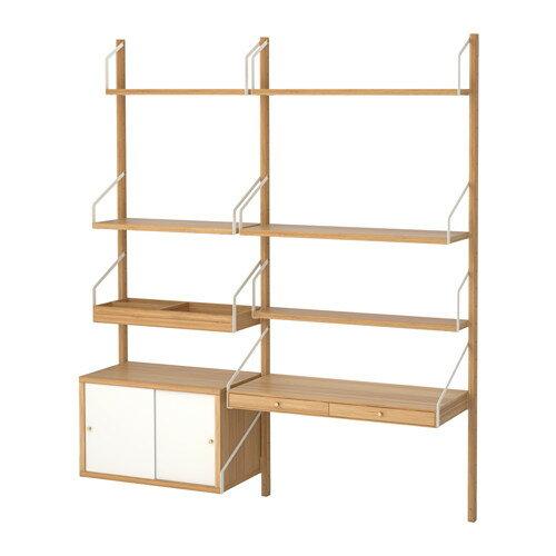 【IKEA/イケア/通販】 SVALNÄS 壁取り付け式ワークスペースコンビネーション, 竹, ホワイト(a)(S49184451)