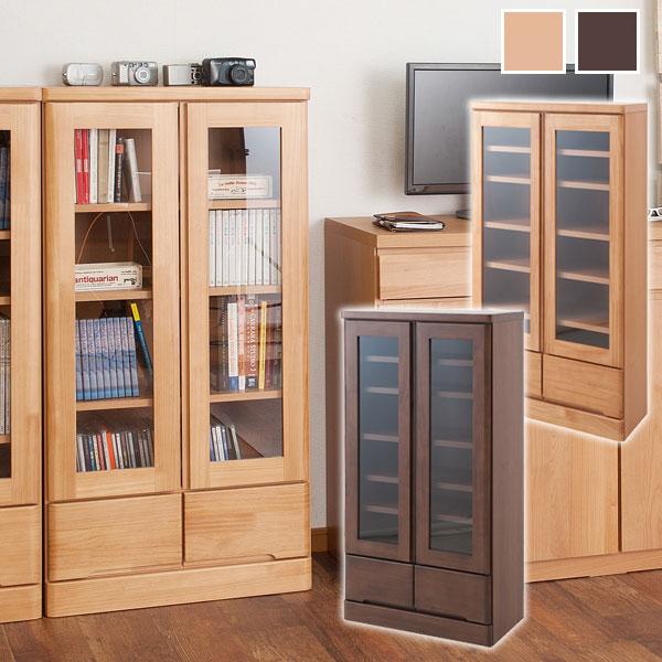 天然木書棚 幅60cm ロータイプ 本棚/書棚/食器棚/カップボード/完成品/TE-0036/TE-0040【送料無料】