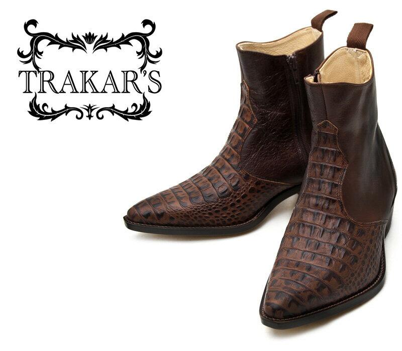 [TRAKAR'S] トラッカーズ 14302 Type-D×Brown ブラウン クロコ(プリント) メンズ レディース 本革 ウエスタンブーツ ショートブーツ