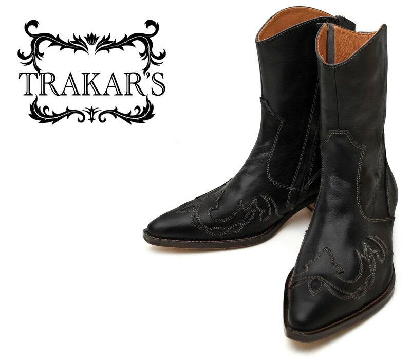 [TRAKAR'S] トラッカーズ T-505 Black×Black ブラック メンズ レディース 本革 ショート ウエスタンブーツ カウボーイブーツ