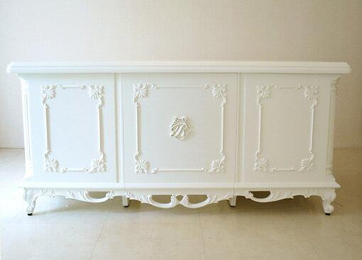 ★New!★輸入■オーダー家具■デスク■クラシックスタイル■W160cm■ホワイト色■イニシャルR&オードリーリボンの彫刻