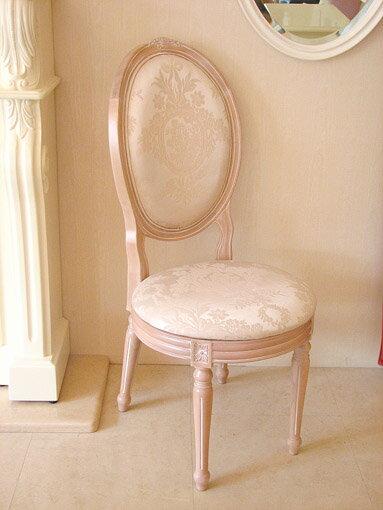輸入家具■オーダー家具■プリンセス家具■オーバルチェア■ルイ16世スタイル■ピンクベージュ色■背もたれ前後に薔薇の彫刻■リボンとブーケ柄オフホワイトの張り地
