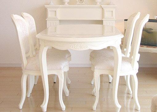 輸入家具■オーダー家具■プリンセス家具■薔薇■ダイニングテーブル■160■ホワイト