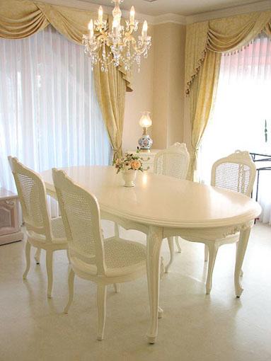 輸入家具■オーダー家具■プリンセス家具■リボン■ダイニングテーブル180■ホワイト