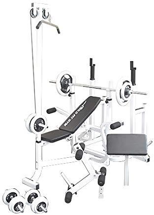 マルチトレーニングジムセット 白ラバー70kg[WILD FIT ワイルドフィット] 送料無料 バーベル ベンチプレス トレーニング ウエイト プレート スクワット 大胸筋 腹筋