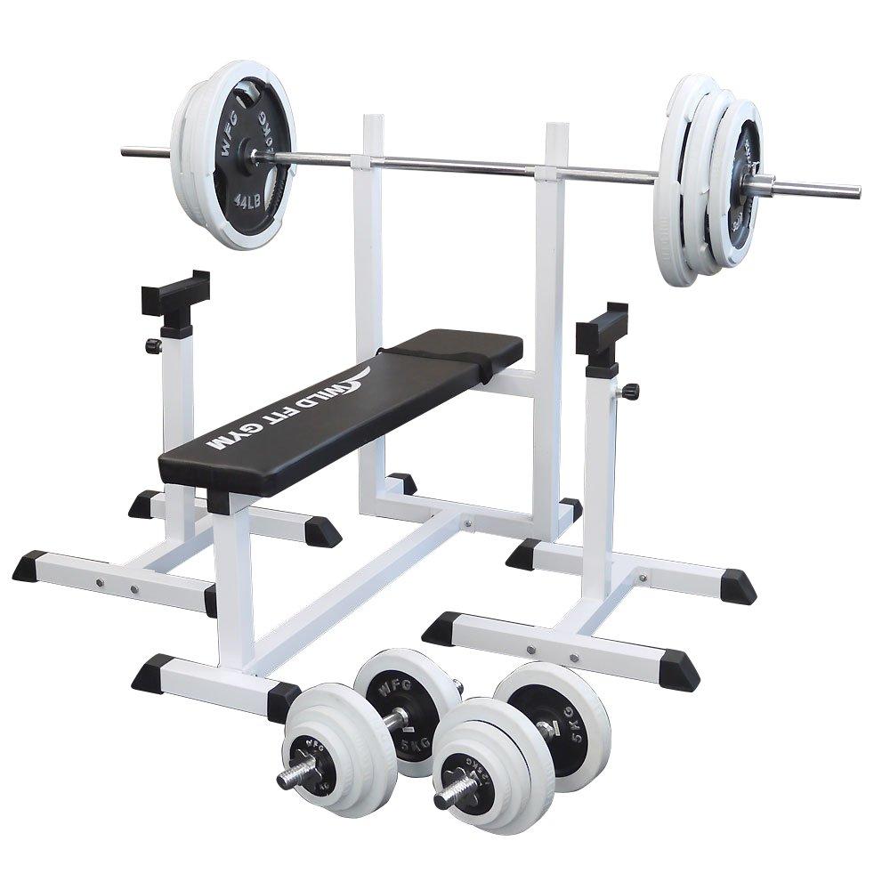 トレーニングジムセット 白ラバー140kg[WILD FIT ワイルドフィット] 送料無料 バーベル ダンベル ベンチプレス トレーニング器具 フィットネス 大胸筋 腹筋 上腕筋