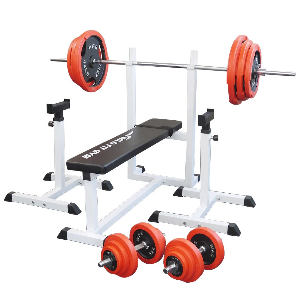 トレーニングジムセット 赤ラバー140kg[WILD FIT ワイルドフィット] 送料無料 バーベル ダンベル ベンチプレス トレーニング ウエイト プレート 大胸筋 腹筋 上腕筋