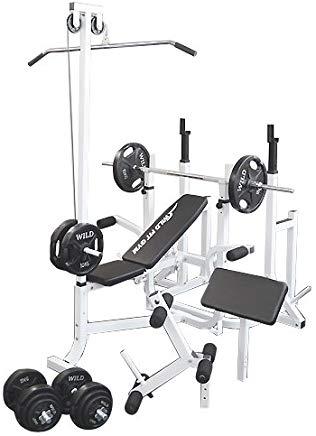 マルチトレーニングジムセット 黒ラバー100kg[WILD FIT ワイルドフィット] 送料無料 バーベル ベンチプレス トレーニング ウエイト プレート スクワット 大胸筋 腹筋