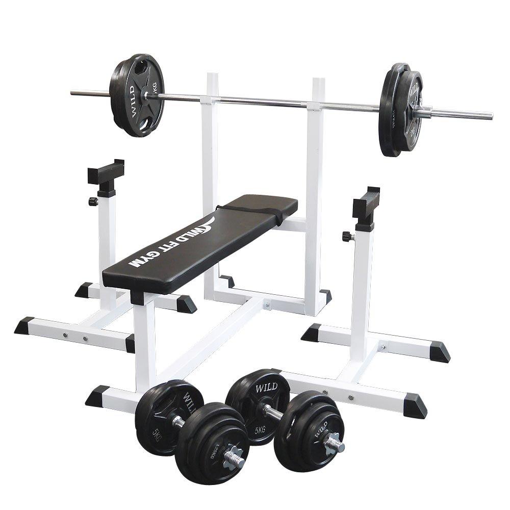 トレーニングジムセット 黒ラバー100kg[WILD FIT ワイルドフィット] 送料無料 バーベル ダンベル ベンチプレス トレーニング器具 フィットネス 大胸筋 腹筋 上腕筋