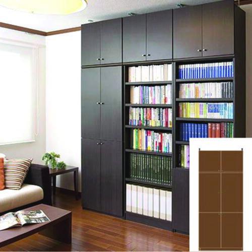 薄型 本棚 扉付本棚 天井突っ張り壁収納 UX 木製本棚 薄型書棚 組立家具 高さ259.1~268.1cm幅71~80cm奥行40cm厚棚板(耐荷重30Kg) タフ棚板(厚さ2.5cm) 薄型本棚