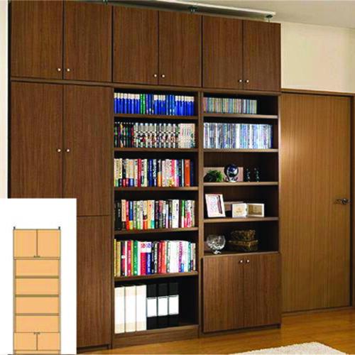 本棚 扉付き 薄型本棚 薄型壁面コミック本棚 TX つっぱり本棚 扉付本棚 組立家具 高さ232~241cm幅60~70cm奥行19cm厚棚板(耐荷重30Kg) タフ棚板(厚さ2.5cm) 扉付本棚