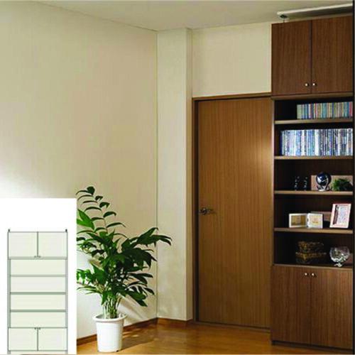 本棚 扉付き 書類本棚 天井つっぱり壁面本棚 TX 組み立て本棚 扉付本棚 日曜大工 高さ226~235cm幅81~90cm奥行31cm厚棚板(耐荷重30Kg) タフ棚板(厚さ2.5cm) 扉付本棚