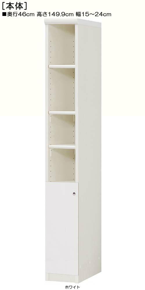 下部扉リビング隙間収納高さ149.9cm幅15~24cm奥行46cm片開き 扉高さ52.5cm 扉付ベッドルーム収納 リビング隙間収納