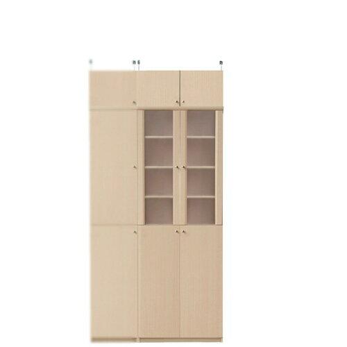 【期間限定ポイント5倍 10/4まで】半透明扉 両開き 深型木製キッチンボード 高さ208~217cm幅60~70cm奥行46cm(高さ=ラック高さ178cm+突張棚高さ23cm+伸縮突張金具)