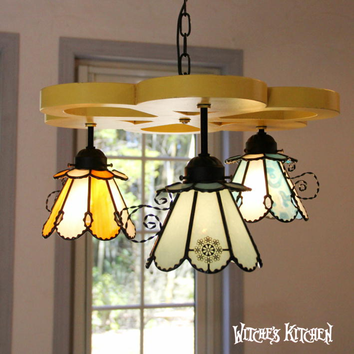 シャンデリア 【Dor Mouse・眠りねずみ】 LED対応 不思議の国のアリス 3灯 ペンダントライト ステンドグラス ランプ