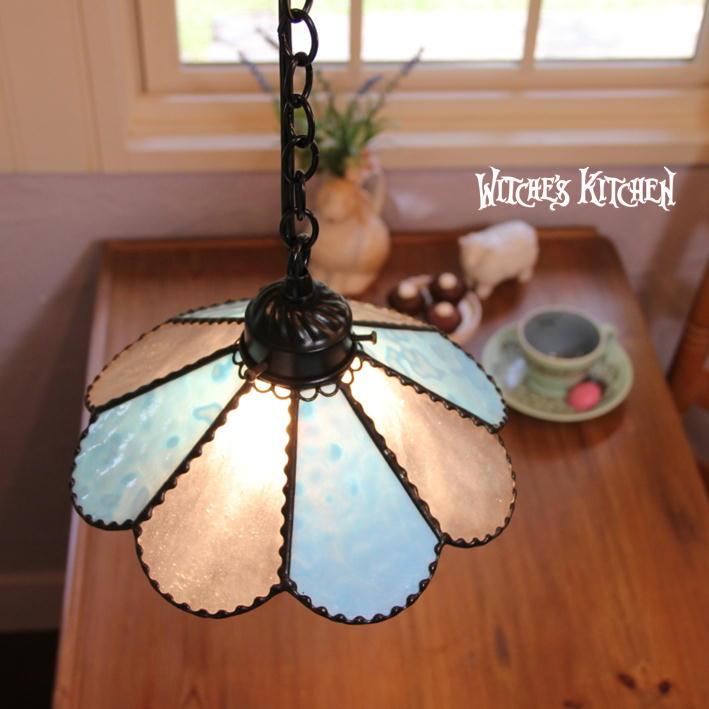 ペンダントライト 【Flora Blue・フローラ ブルー】 LED対応 フラワー ステンドグラス ランプ
