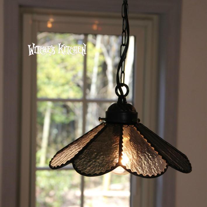 ペンダントライト 【Flora Black・フローラ ブラック】 LED対応 フラワー ステンドグラス ランプ