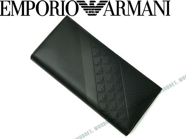 【送料無料】EMPORIO ARMANI エンポリオアルマーニ 2つ折り財布 小銭入れあり イーグルロゴ柄 型押しレザー ブラック YEM474-YKS2V-81956 ブランド/メンズ/男性用