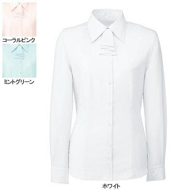 事務服・制服・オフィスウェア  ヌーヴォ FB7549 ブラウス/リボン付(長袖) 9号・ホワイト1
