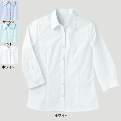 事務服・制服・オフィスウェア  ピエ B5202-01 七分袖ブラウス 17号~19号