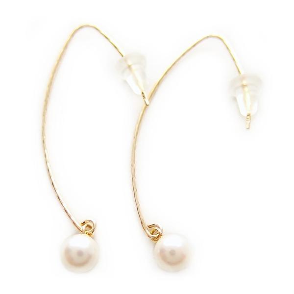【送料無料】アコヤ真珠 パール ピアス K18 イエローゴールド ジプシーピアス 5mm 5ミリ珠 本真珠 真珠