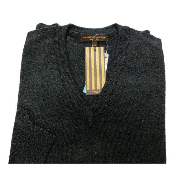 【送料無料】イタリア製 SIMONE DELLANNA EXTRA FINE MARINO WOOLVネックセーター チャコールグレー M