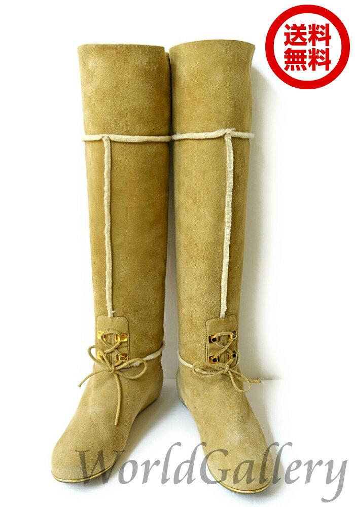 【新品同様】【展示品】【中古】セルジオロッシ Sergio Rossi イタリア製 ブーツ ムートンブーツ レザー 革 本革 スエード リボン ベージュ ホワイト レディース 22,5cm