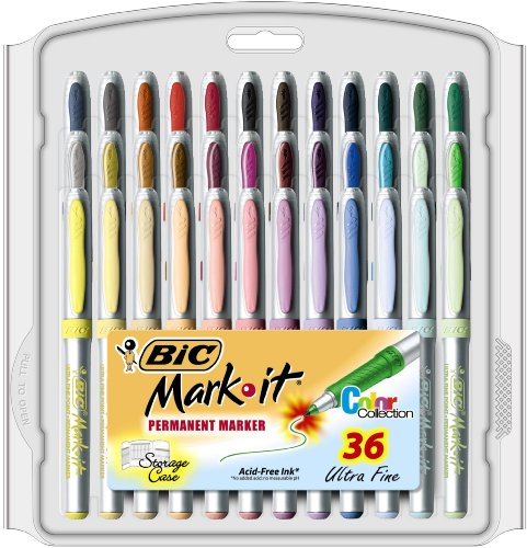 BIC Mark-It Color Collection Ultra Fine Permanent Marker, Assorted, 36 Markers マーカー
