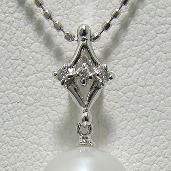 「3石のダイヤモンドが煌くダイヤモチーフペンダントトップ金具(K14WG)」(真珠用)[n5]