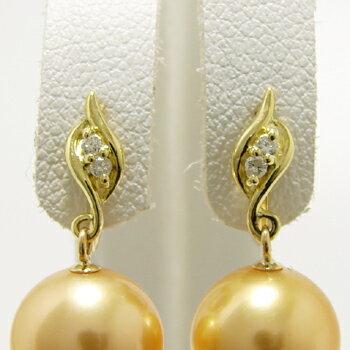 「ダイヤ付き葉っぱデザインイヤリング金具(K18)」(真珠用)[n6]