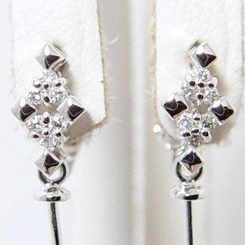 「ダイヤとスクエアモチーフの変形クロスデザインイヤリング金具(K18WG)」(真珠用)[n5]