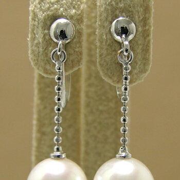 「真珠が揺れるカットボールチェーン1.2cmイヤリング金具(K14WG)」(真珠用)[n5]
