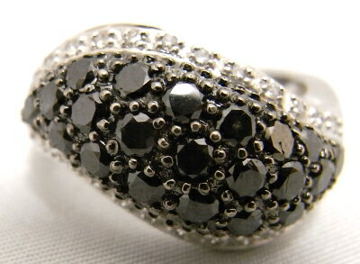 【質屋出品】【中古】【美品】【仕上げ済み】18KWG 750WG ホワイトゴールド デザインリング 指輪ブラックダイヤ メレダイヤ