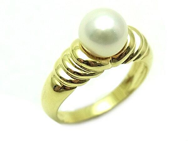 即発 【中古】【程度A】【美品】ティファニー 750 YG イエローゴールド パール#8 デザインリング 指輪
