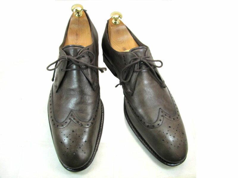 Russell&Bromley ラッセル&ブルムリー42 約26.0-26.5cm  イタリア製・ウイングチップ♪YALAKU-ヤラク-メンズビジネスシューズ・紳士靴【中古】【送料無料】【靴】