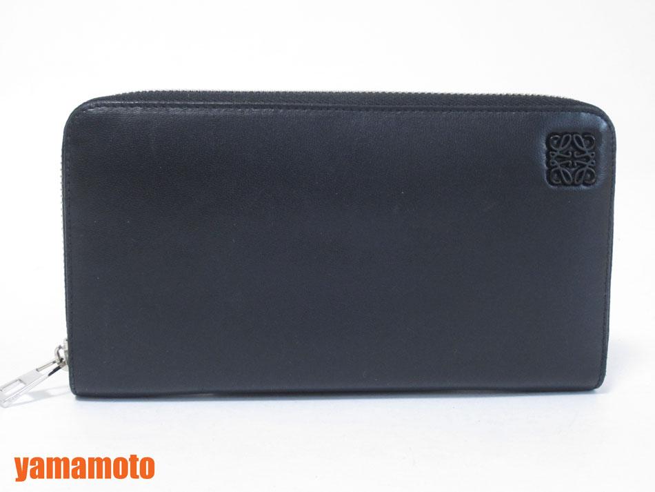 【送料無料】LOEWE ロエベ ラウンドファスナー 財布 カーフ ブラック ブルー メンズ 美品【中古】