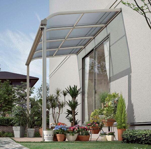 ベランダ 物干し テラス屋根 1階用 ヴェクター アール型 1.5間4尺 柱標準タイプ 熱線遮断ポリカ