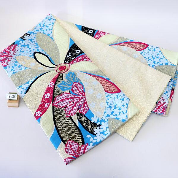 袋帯 合繊 全通 振袖用 両縁縫い上げ済 日本製 新品 (株)安田屋 b185332591